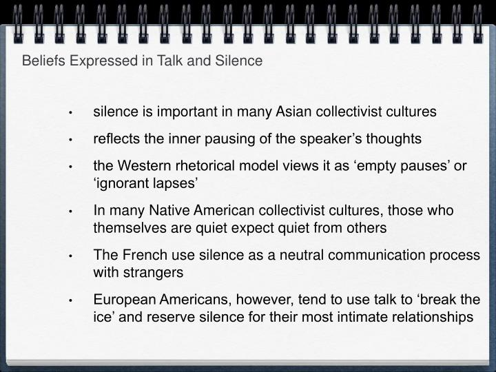 Beliefs Expressed in Talk and Silence