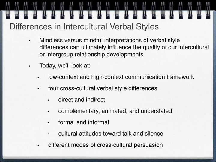 Differences in Intercultural Verbal Styles
