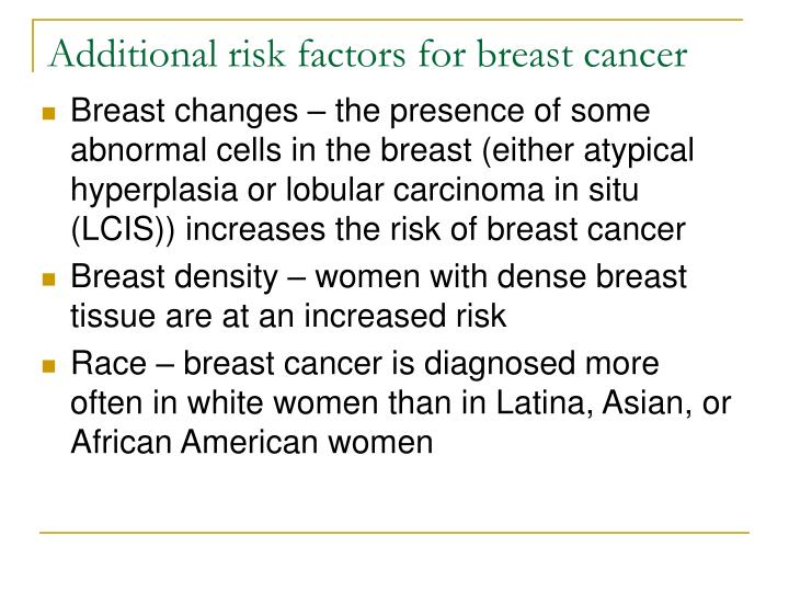 Additional risk factors for breast cancer