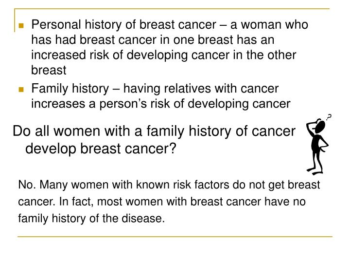 Personal history of breast cancer – a woman who has had breast cancer in one breast has an increased risk of developing cancer in the other breast