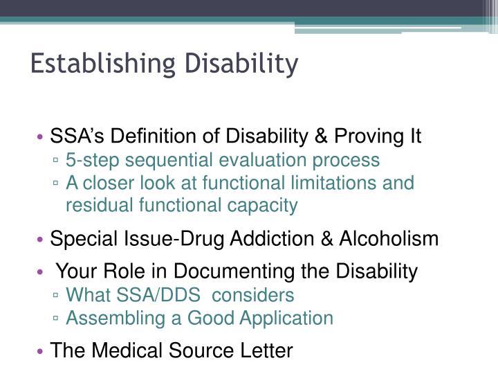 Establishing Disability