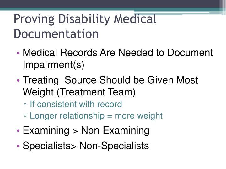 Proving Disability Medical Documentation