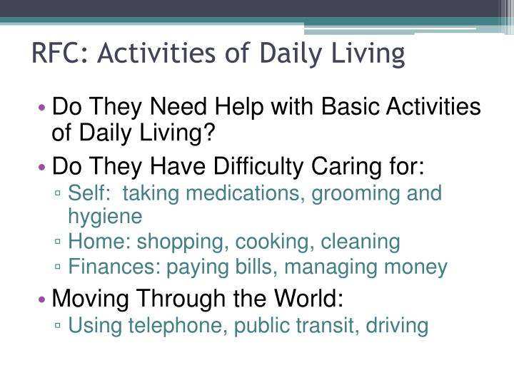 RFC: Activities of Daily Living