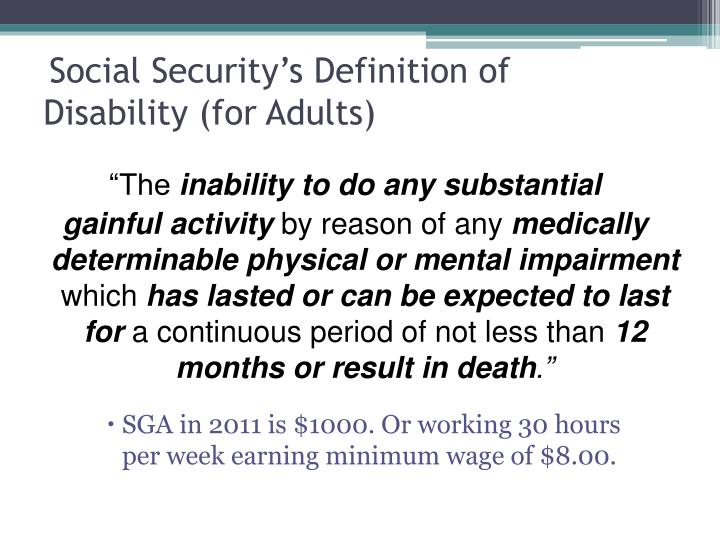 Social Security's Definition of Disability (for Adults)