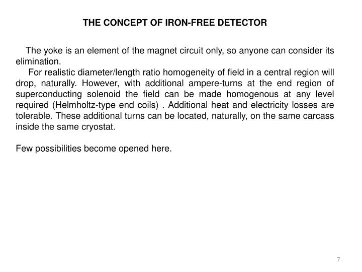 THE CONCEPT OF IRON-FREE DETECTOR