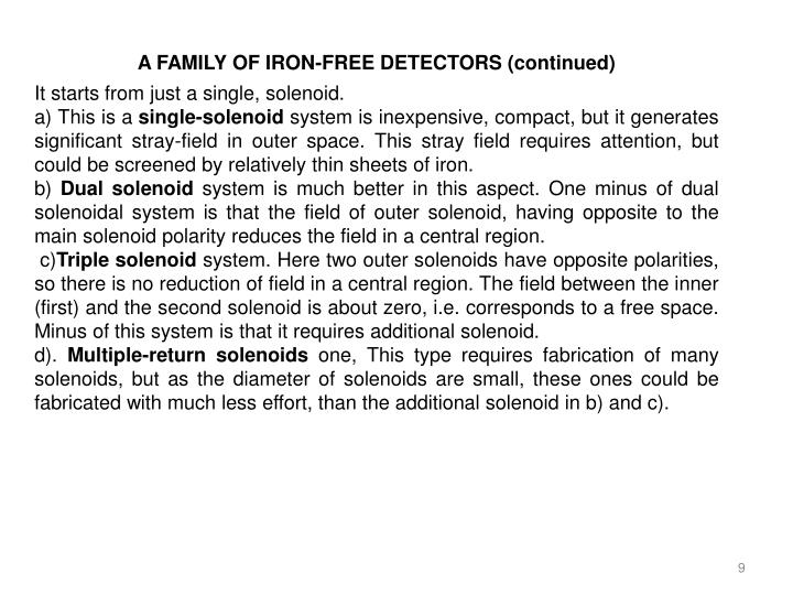 A FAMILY OF IRON-FREE DETECTORS (continued)