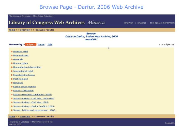 Browse Page - Darfur, 2006 Web Archive