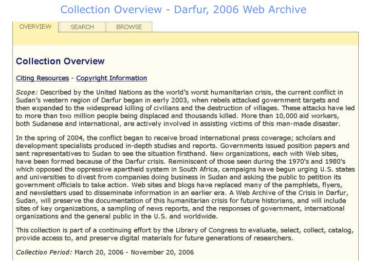 Collection Overview - Darfur, 2006 Web Archive