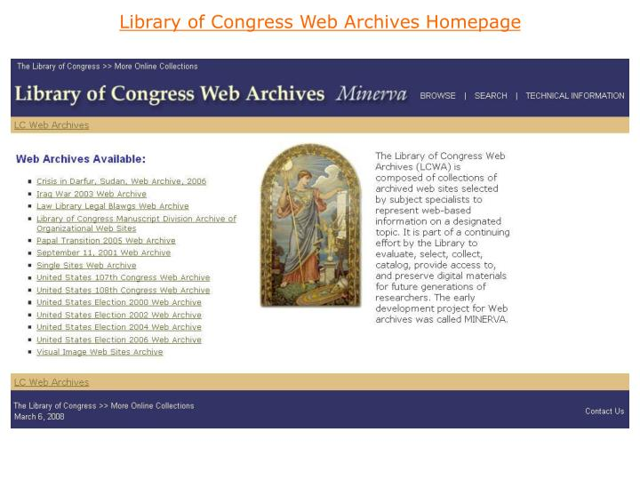 Library of Congress Web Archives Homepage