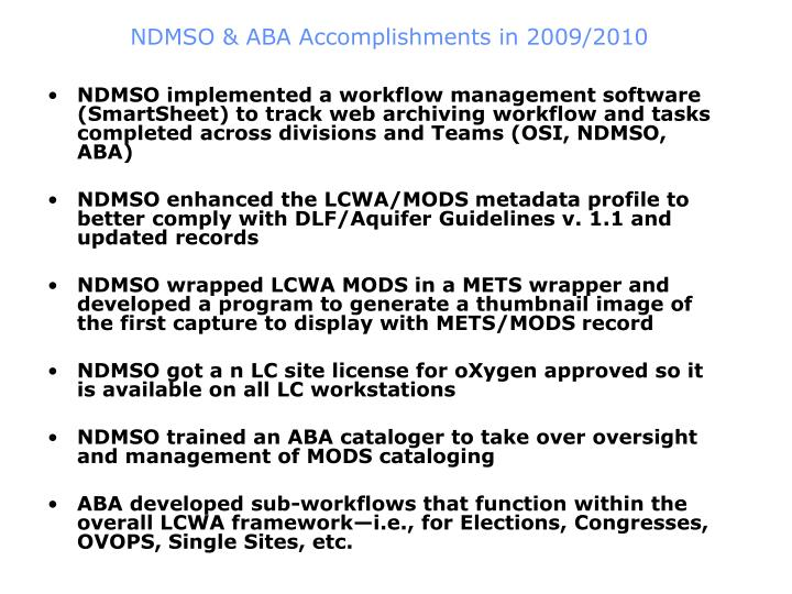 NDMSO & ABA Accomplishments in 2009/2010