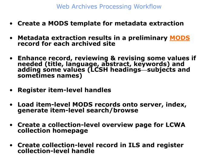 Web Archives Processing Workflow