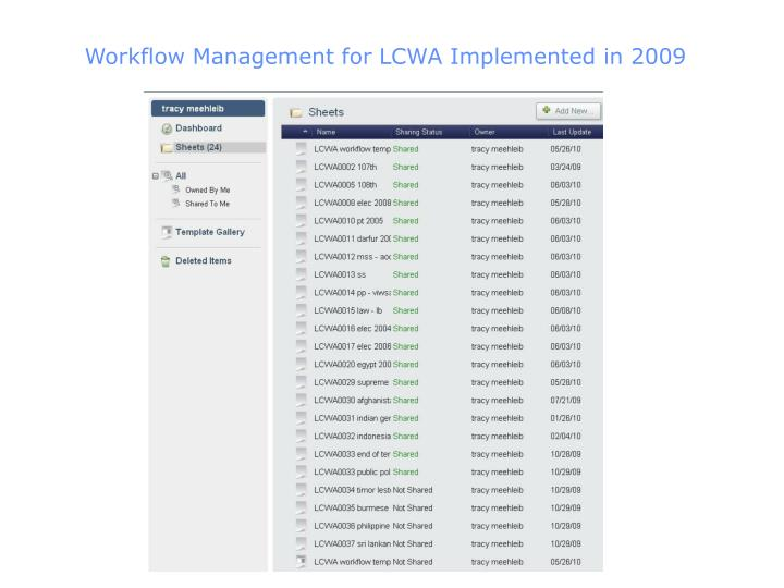 Workflow Management for LCWA Implemented in 2009