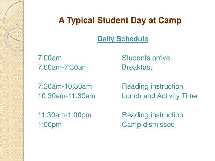 A Typical Student Day at Camp