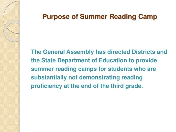Purpose of summer reading camp