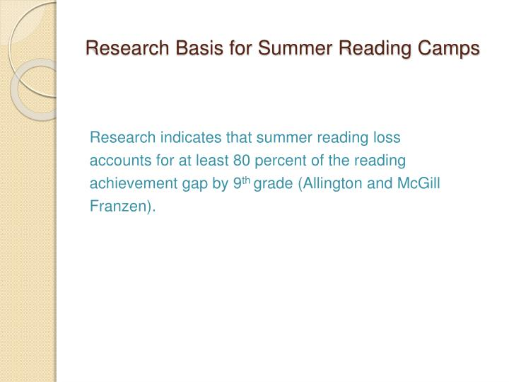 Research Basis for Summer Reading Camps