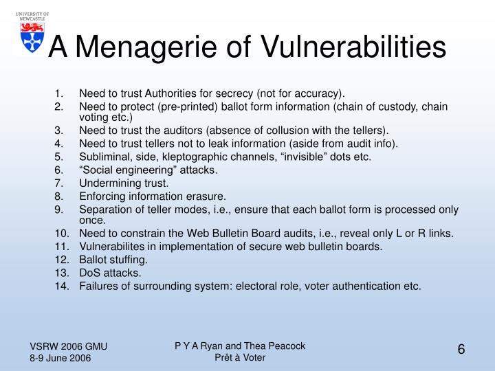 A Menagerie of Vulnerabilities