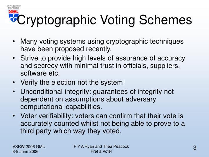 Cryptographic Voting Schemes