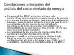 conclusiones principales del an lisis del costo nivelado de energ a
