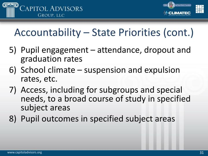 Accountability – State Priorities (cont.)