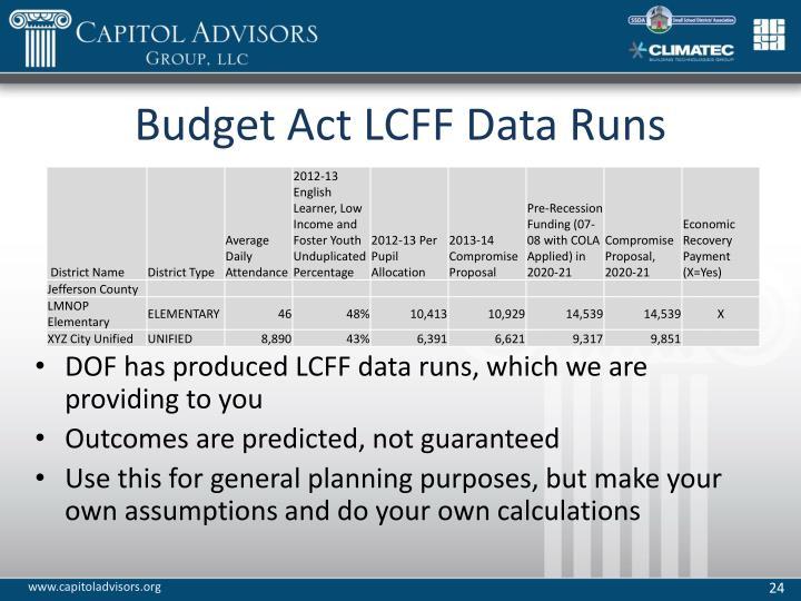 Budget Act LCFF Data Runs