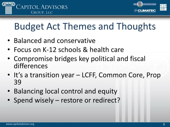 Budget Act Themes and Thoughts