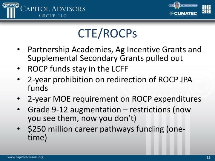 CTE/ROCPs