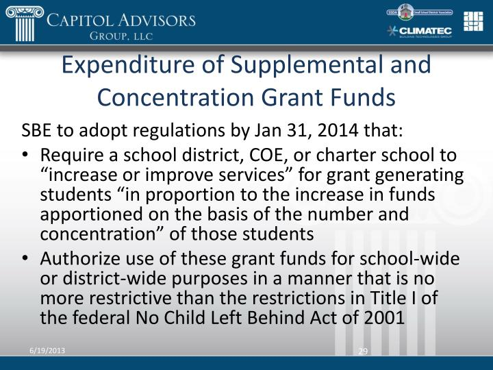 Expenditure of Supplemental and Concentration Grant Funds