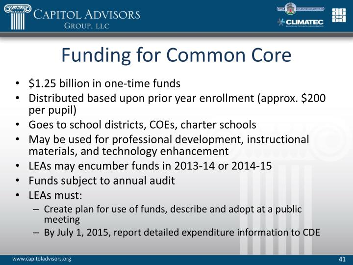 Funding for Common Core