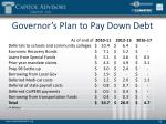 governor s plan to pay down debt