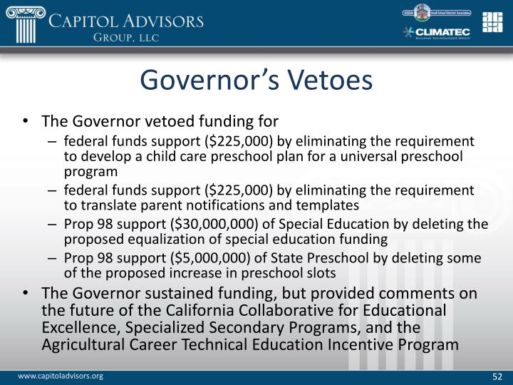 Governor's Vetoes