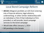 local bond campaign reform