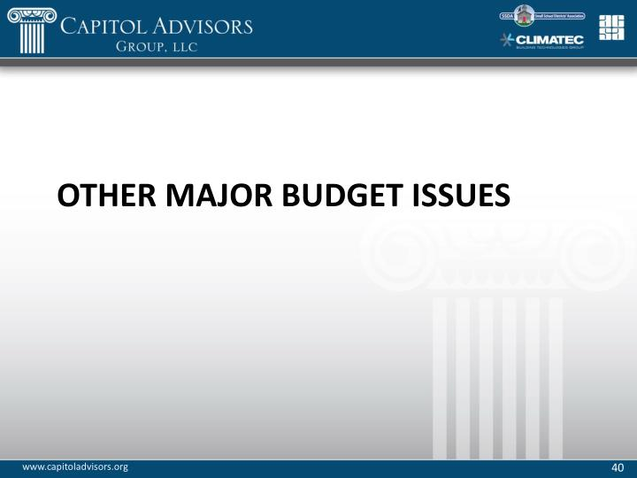 Other Major Budget Issues
