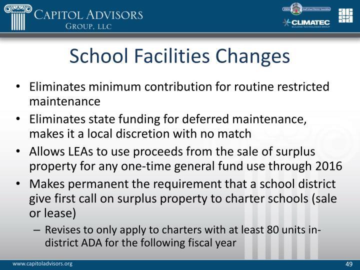 School Facilities Changes