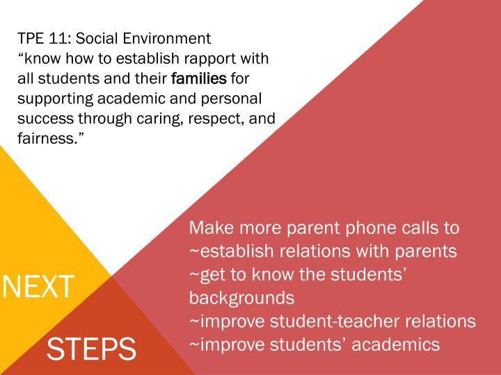 TPE 11: Social Environment