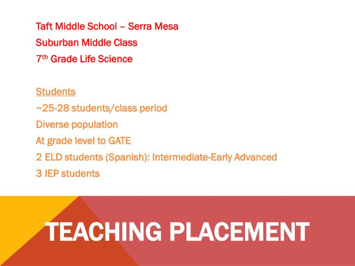 Teaching placement
