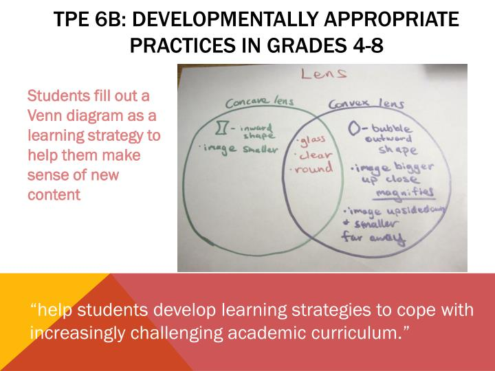 TPE 6b: developmentally appropriate practices in Grades 4-8