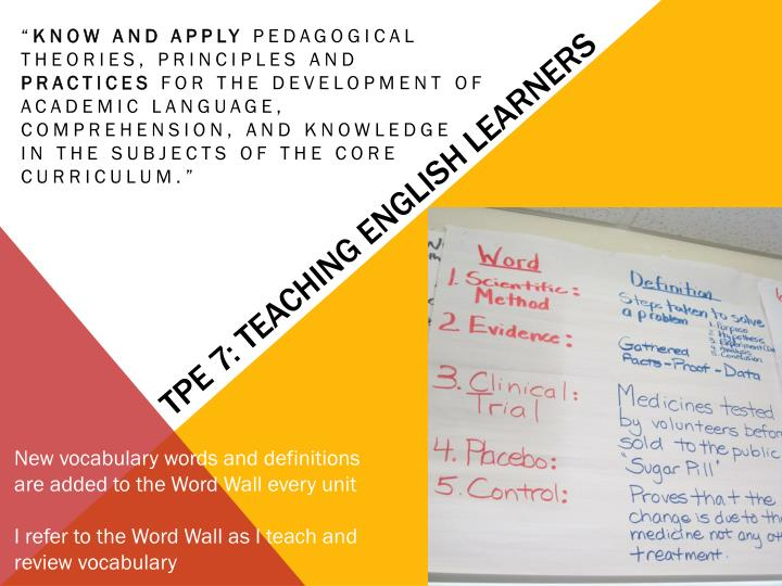 TPE 7: Teaching English Learners