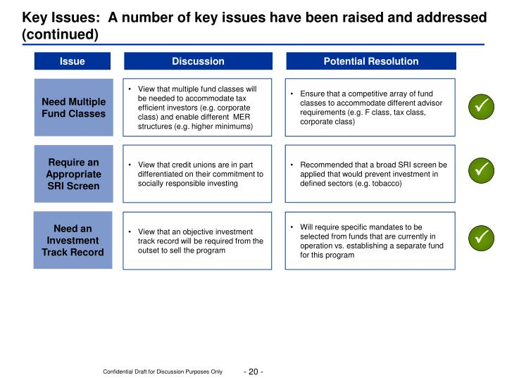 Key Issues:  A number of key issues have been raised and addressed (continued)