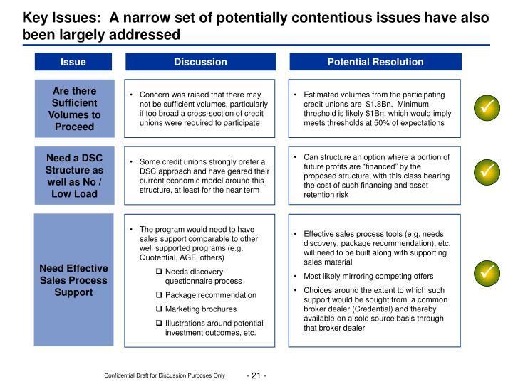 Key Issues:  A narrow set of potentially contentious issues have also been largely addressed