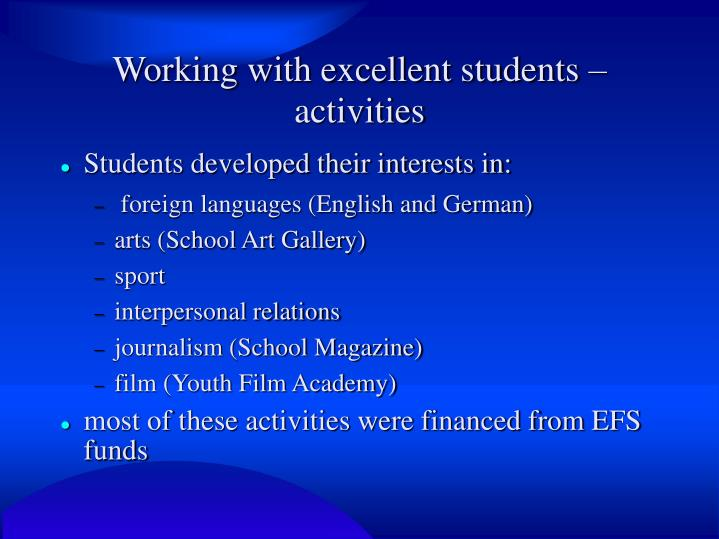 Working with excellent students – activities
