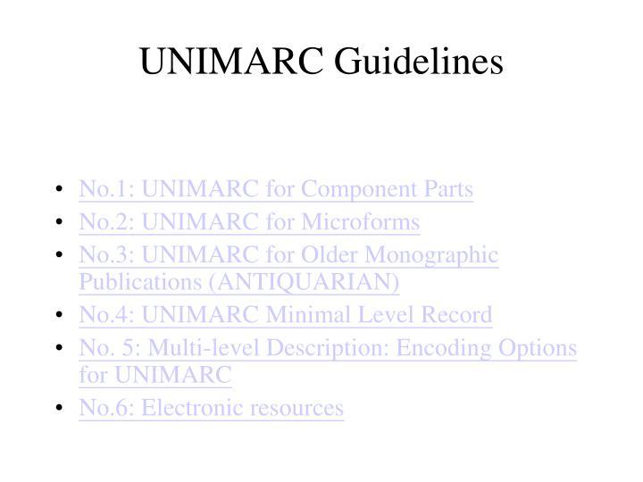 UNIMARC Guidelines