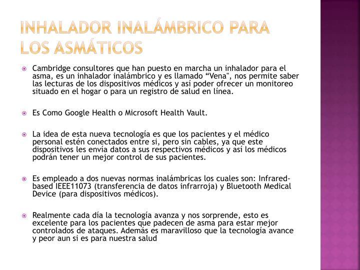 Inhalador inalámbrico para los asmáticos