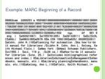 example marc beginning of a record