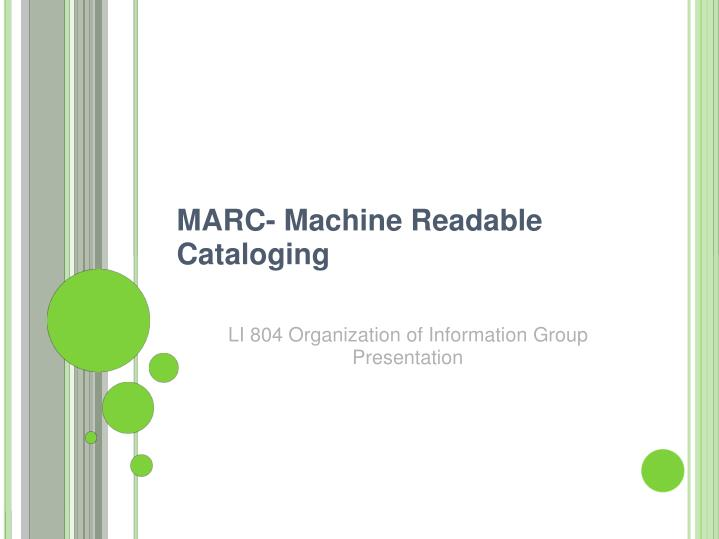Marc machine readable cataloging