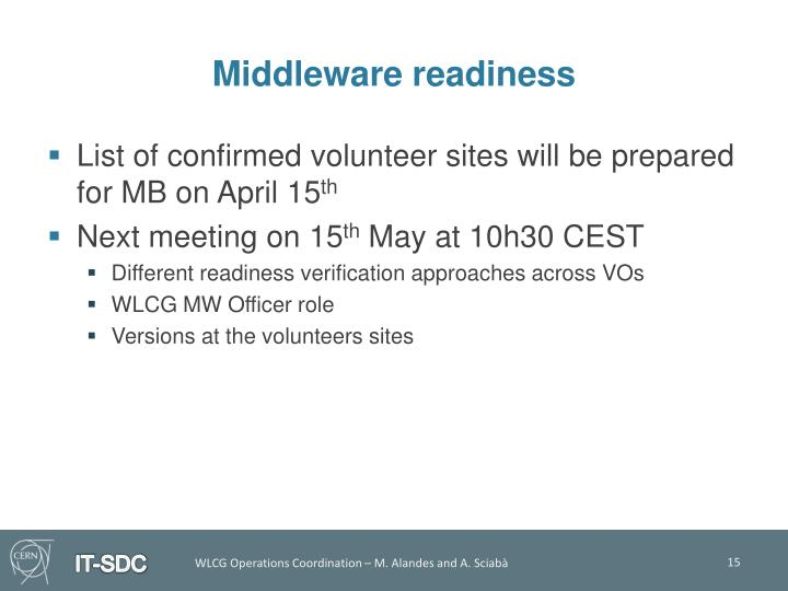 Middleware readiness