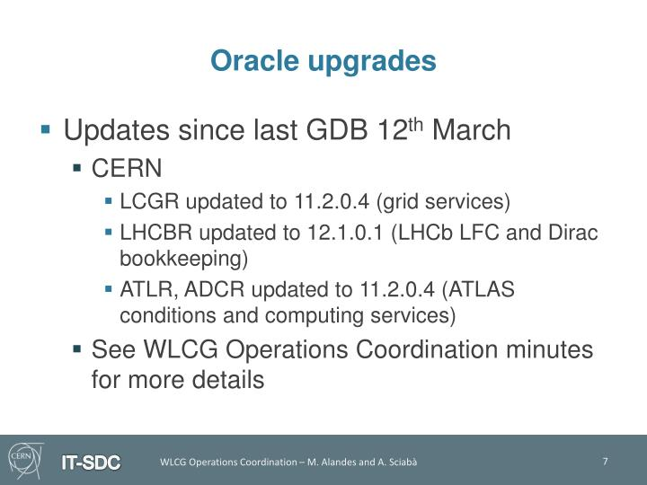 Oracle upgrades