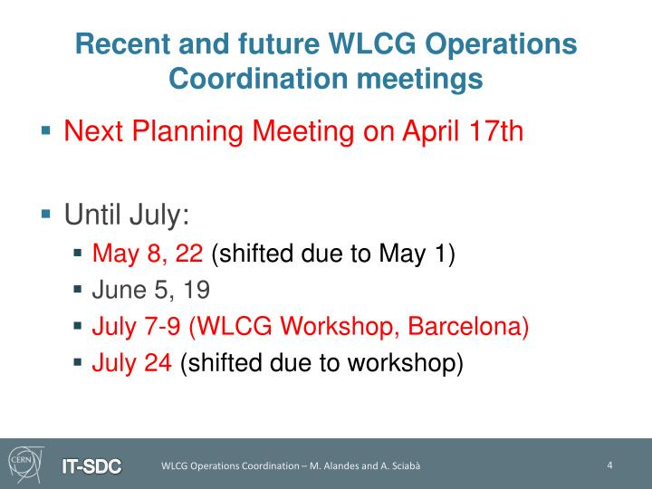 Recent and future WLCG Operations Coordination meetings