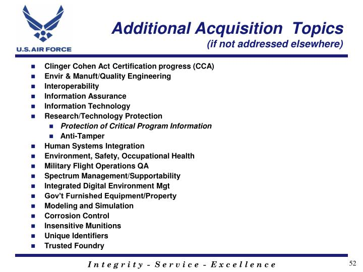 Additional Acquisition  Topics