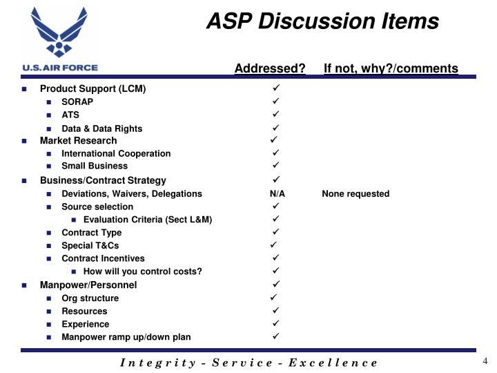 ASP Discussion Items