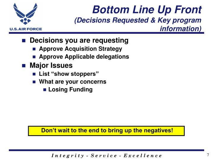 Bottom Line Up Front